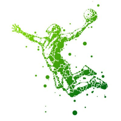 Sticker illustration of abstract basketball player in jump