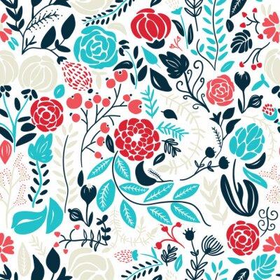 Sticker Illustration of beautiful hand drawn flowers