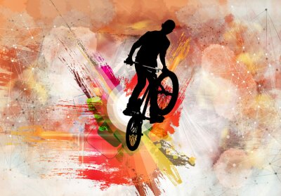 Sticker Illustration of bicycle jumper