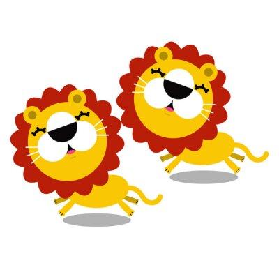 Sticker illustration of cartoon cute lions
