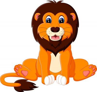 Sticker illustration of cute baby lion cartoon