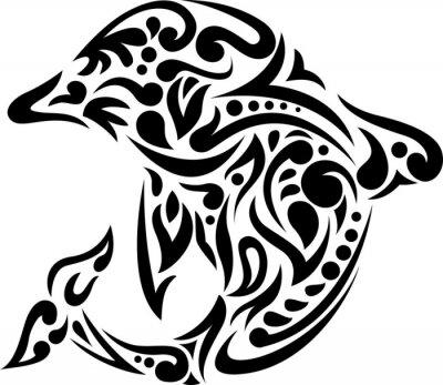 Sticker illustration of dolphin tattoo art