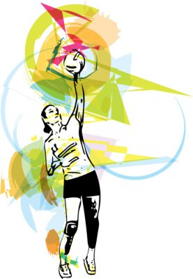 Sticker Illustration of volleyball player playing