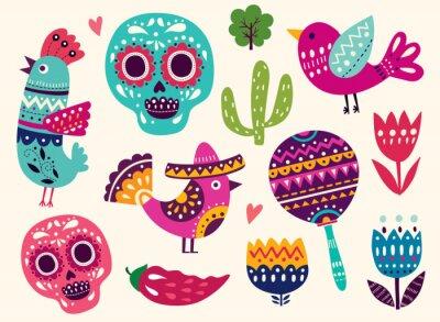 Sticker Illustration with symbols of Mexico