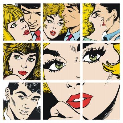 Sticker Ilustraciones con parejas de enamorados