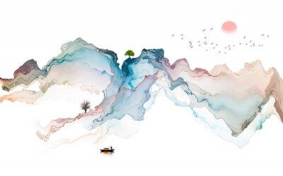 Sticker Ink landscape decoration illustration abstract line poster background