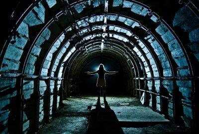 Sticker Interior of tunnel in abandoned coal mine