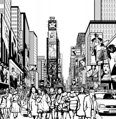 Sticker Interpretation of Times Square in New York