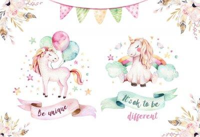 Sticker Isolated cute watercolor unicorn clipart. Nursery unicorns illustration. Princess rainbow unicorns poster. Trendy pink cartoon horse.
