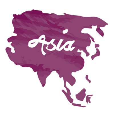 Sticker Isolated map of Asia on a white background, Vector illustration