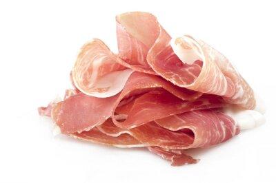 Sticker Italian prosciutto crudo ,raw ham leg sliced on white
