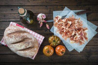 Sticker Jamón, pan, tomate, aceite de oliva y ajo para hacer el típico pan tumaca español