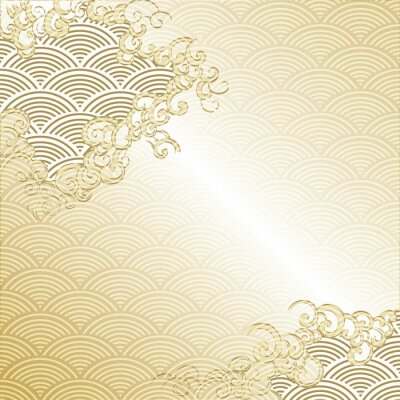 Sticker Japanese Cloud background with wave pattern vector. Gold Japanese line template.