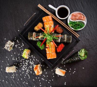 Sticker Japanese seafood sushi set