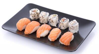 Sticker Japanese sushi set on a black plate