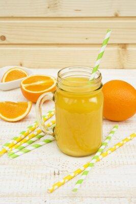 Sticker jar of orange juice