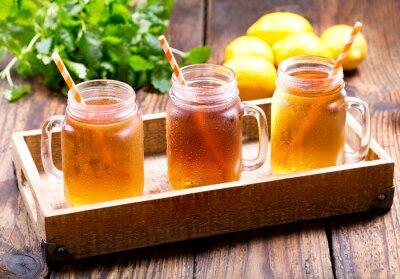 Sticker jars of lemon ice tea