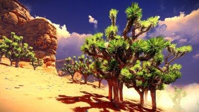 Sticker Joshua trees on desert