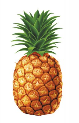 Sticker juicy fresh water drops of pineapple on white background