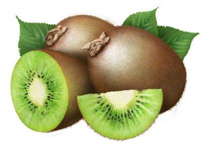 Sticker juicy kiwi with leaves on white background , fruits