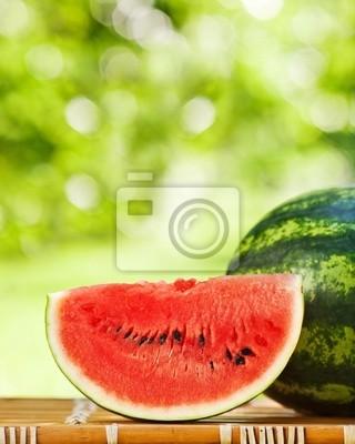 Sticker Juicy watermelon against natural background