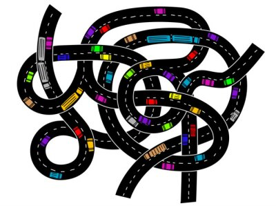 Sticker Junction of higway for traffic concept