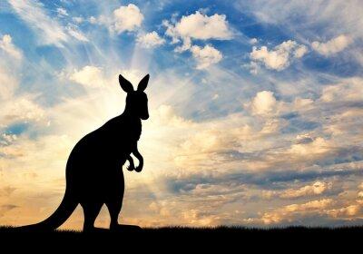 Sticker Kangaroo silhouette against a  sky