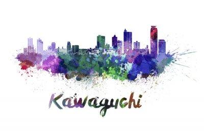 Sticker Kawaguchi skyline in watercolor