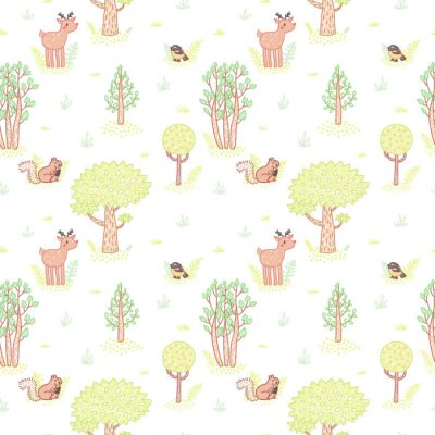 Sticker Kids style drawing cute doodle trees vector seamless pattern.