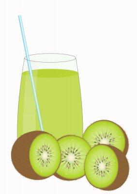 Sticker Kiiwi fruit juice and Kiwi halves
