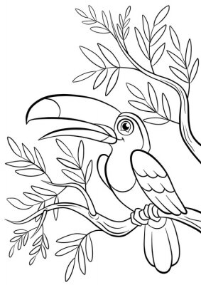Sticker kind smiling cute toucan in a forest
