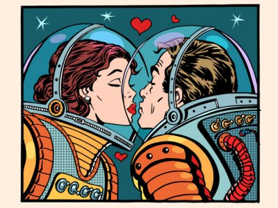 Sticker Kiss space man and woman astronauts