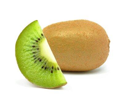 Sticker kiwi fruit on a white background