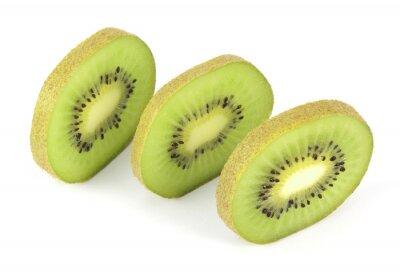 Sticker Kiwi fruit sliced segments isolated on white background