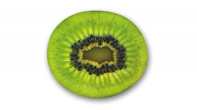 Sticker Kiwi slice, tropical fruit cut in half isolated on white background