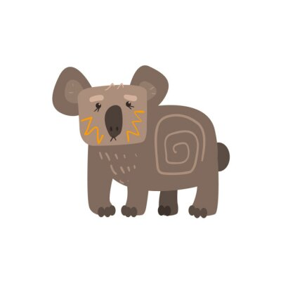 Sticker Koala Standing Flat Cartoon Stylized
