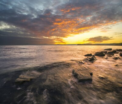 Sticker Krajobraz morski,zachód słońca