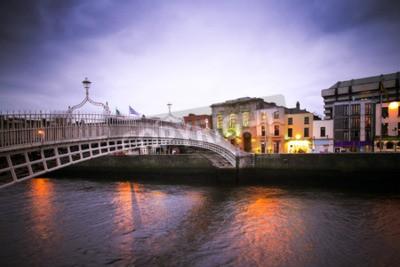Sticker Landmark Ha'Penny bridge over the River Liffey in Dublin