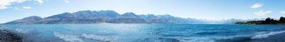 Sticker landscape of lake in summer day in new zealand