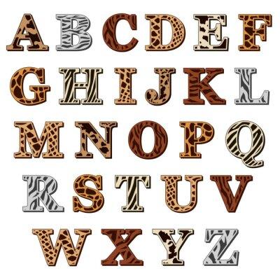 Sticker Latin alphabet with animal print