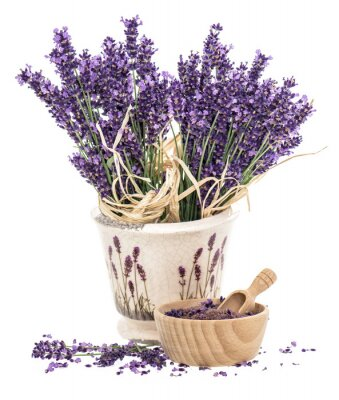 Sticker Lavender flowers and wooden mortar with bath salt