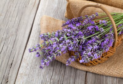 Sticker lavender flowers in a basket with burlap on the wooden backgrou