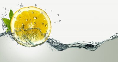 Sticker Lemon and water splashes.