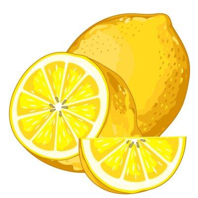 Sticker Lemon Isolated on white background.