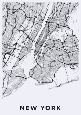 Sticker Light New York City map. Road map of New York (United States). Black and white (light) illustration of new york streets. Transport network of the Big Apple. Printable poster format (portrait).