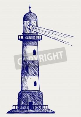 Sticker Lighthouse. Doodle style
