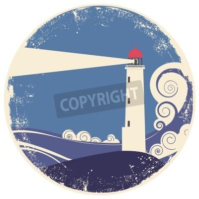 Sticker lighthouse in sea landscape.vintage illustration on old paper
