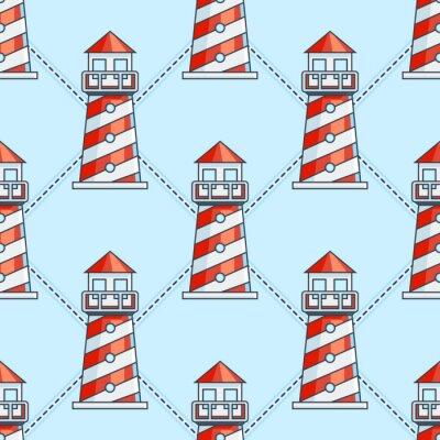 Sticker Lighthouse on blue background seamless pattern
