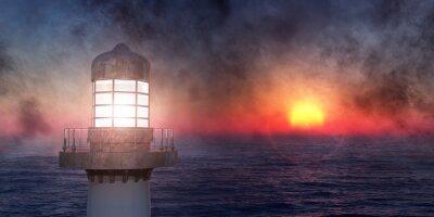 Sticker lighthouse on the coast