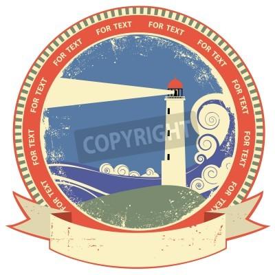 Sticker Lighthouse symbol.Vintage label on old paper texture